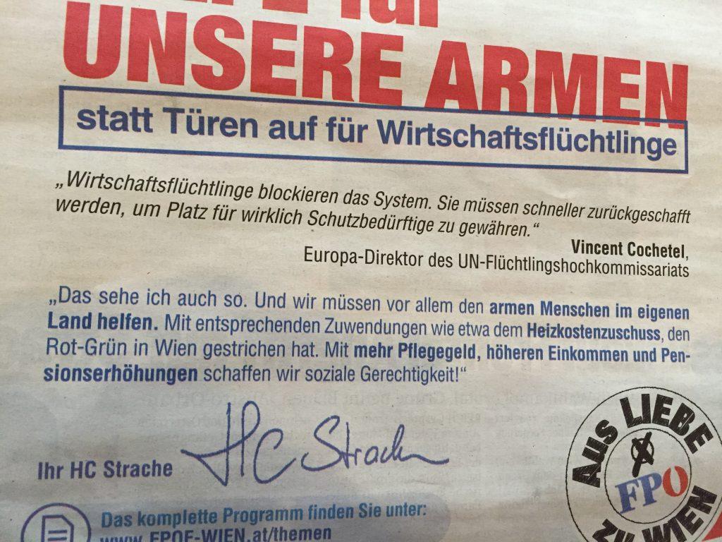 """Inserat der FPÖ Wien, Tageszeitung """"Österreich"""", 23.09.2015"""